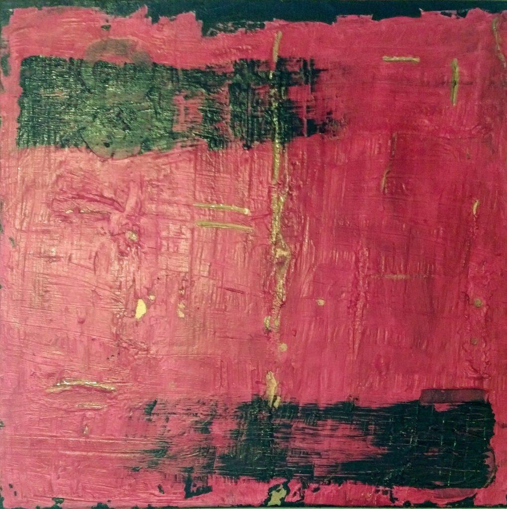 85 Abstaktes Gemälde in pink, gold schwarz von MW Art Marion Waschk