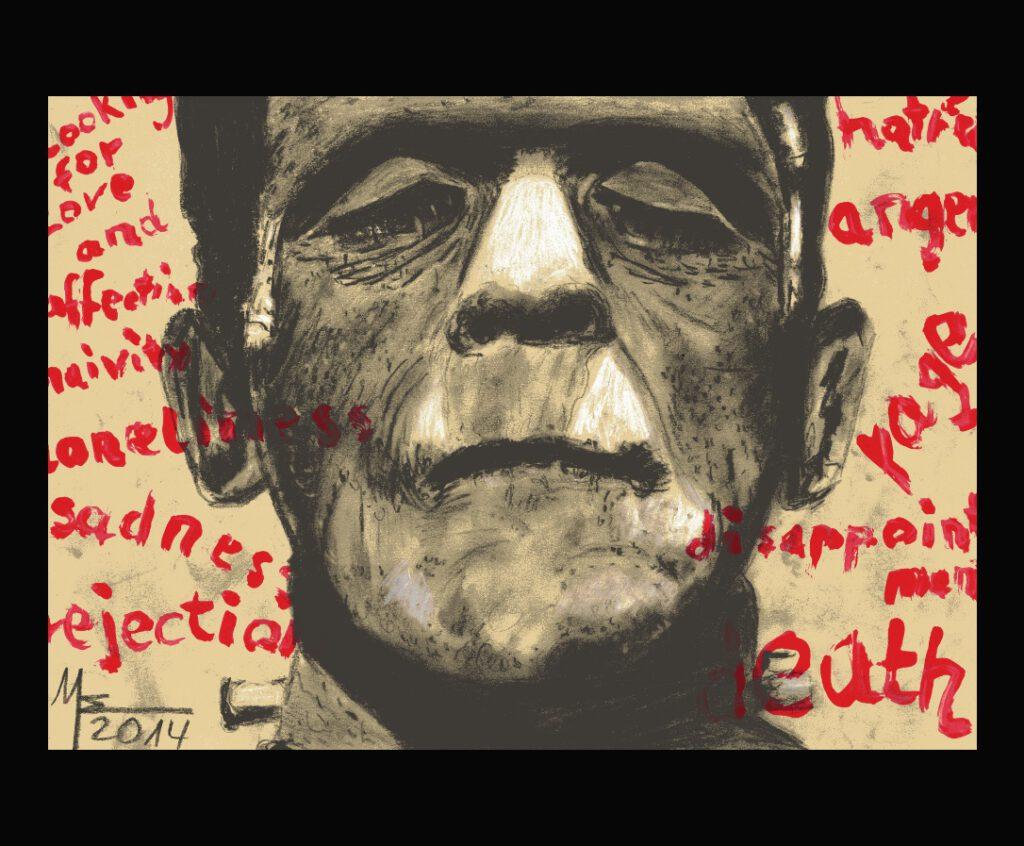 Frankenstein, Zeichnung von MW Art MArion Waschk
