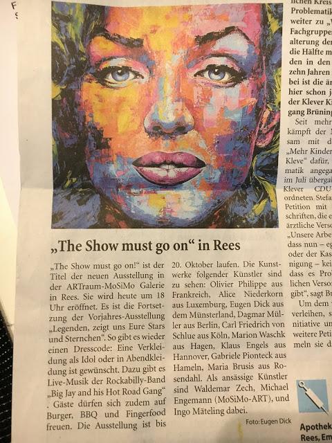 "Exhibition ""The Show must go on"" in Rees mit dabei MW Art Marion Waschk"