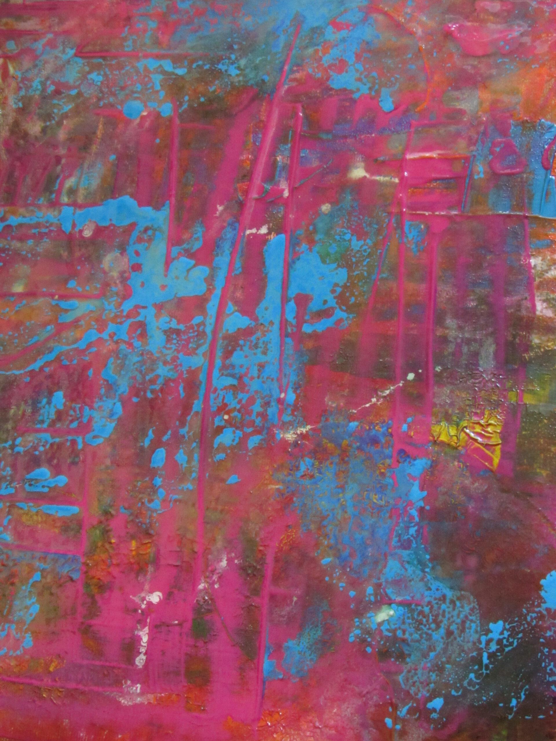 Abstraktes Gemälde in pink und blau von MW Art Marion Waschk