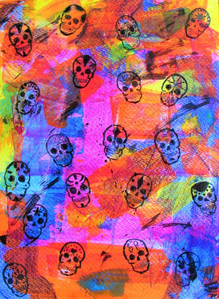 Sugar Skulls Acryl, tinte auf Papier