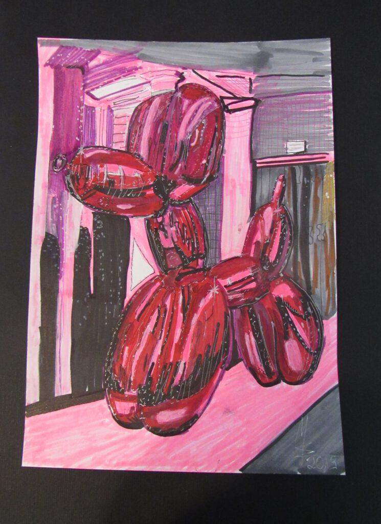 Balloon Dog Zeichnung auf Papier von MW Art Marion Waschk