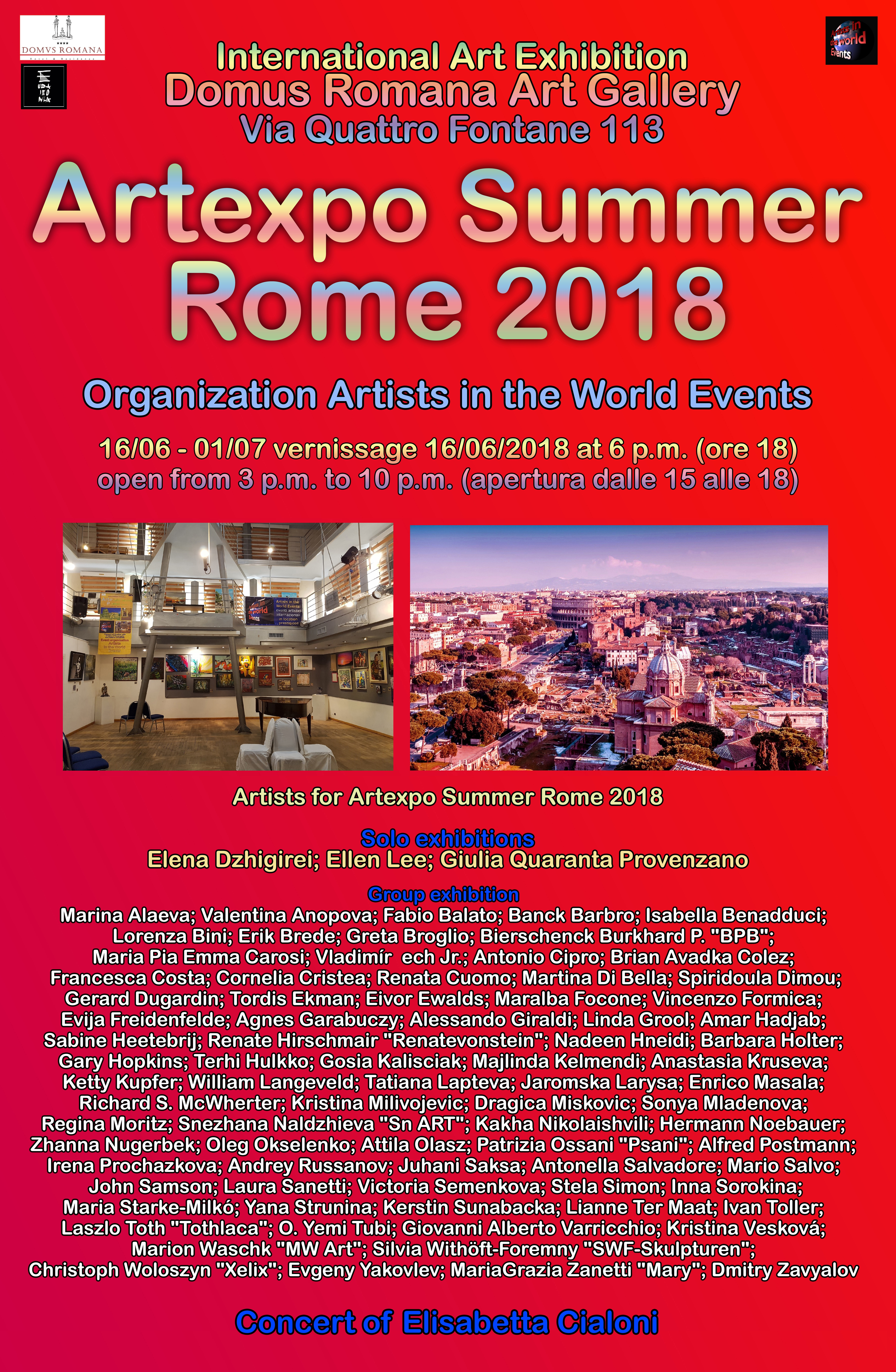 MW Art Marion Waschk mit dem Gemälde Audrey Hepburn auf der Artexpo Summer Rome 2018, Organisation Artists in the world events