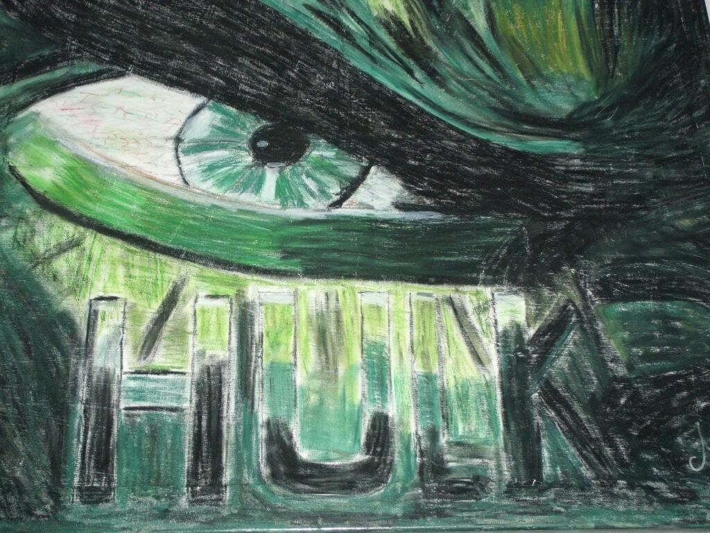 Comicfigur Hulk Ölpastell auf LEinwand von MW art Marion Waschk