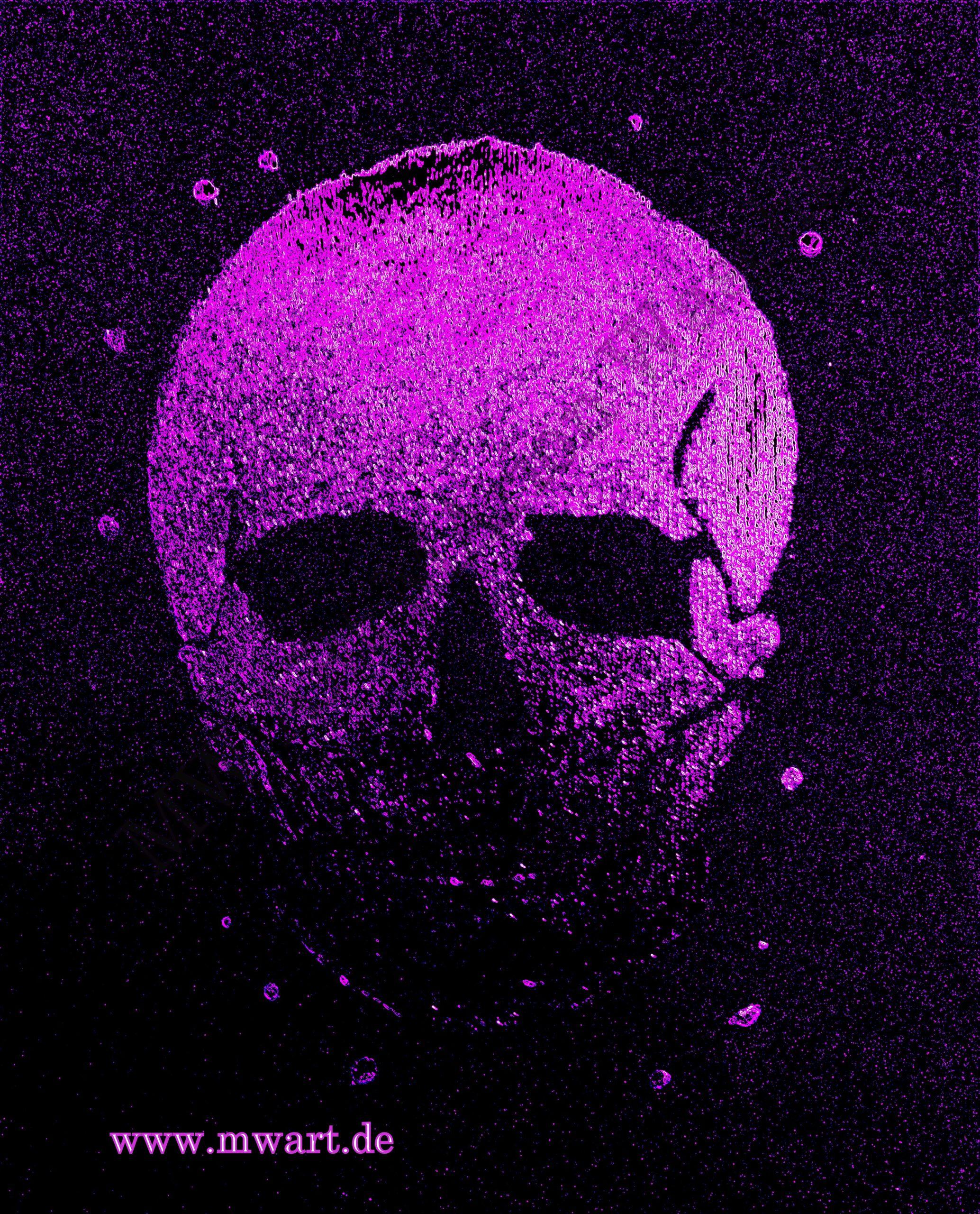 Pink Skull, Malerei Nagellack auf Papier von MW Art Marion Waschk