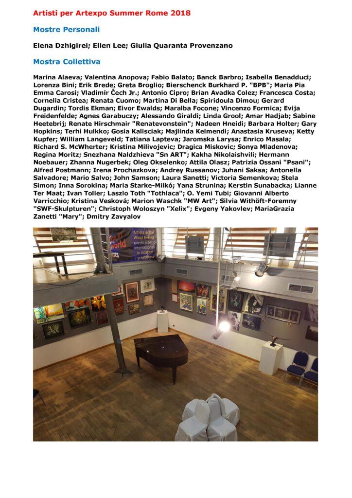 Press release Artexpo Summer Rome 2018. 2