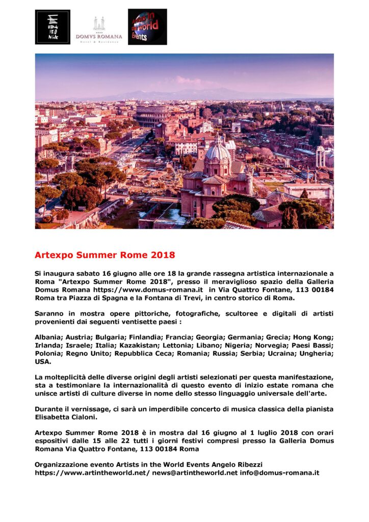 Press release Artexpo Summer 2018