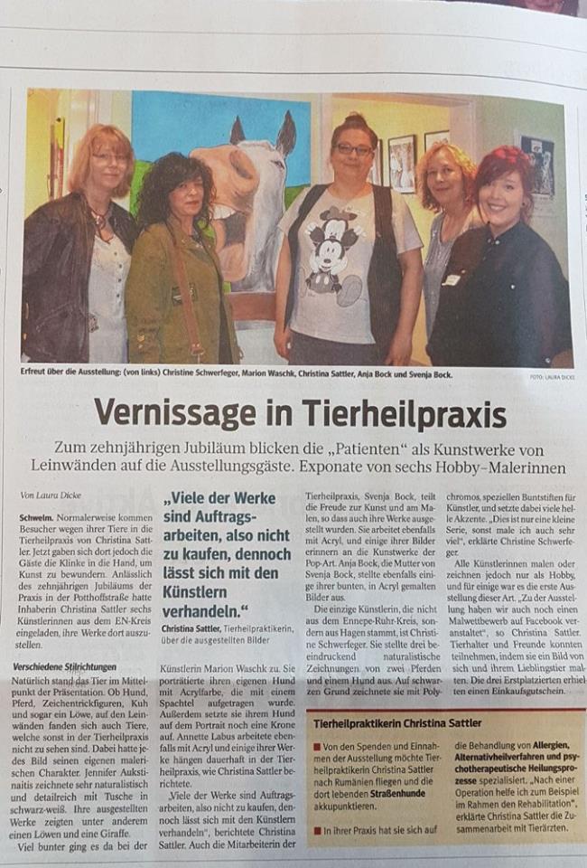Vernissage in der Tierheilpraxis christina Sattler, MW Art Marion Waschk ist mit dabei