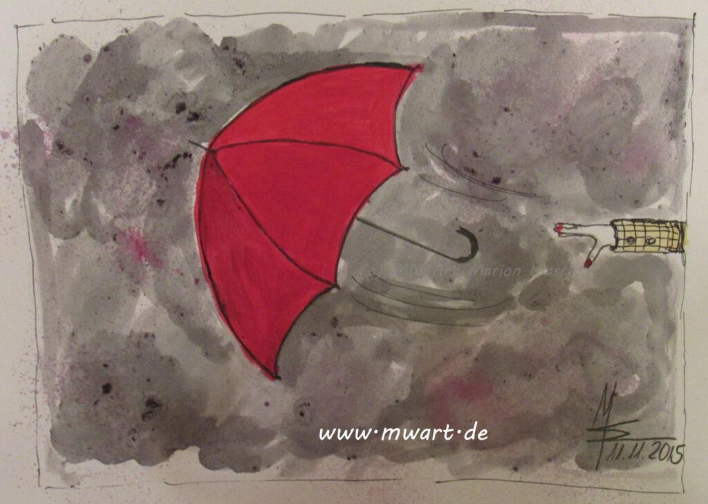 MW Art Marion Waschk verwendete für den fliegenden Regenschirm eigene Farben und Tinten, mein Mann lächelnd sprach von einer Hexenküche