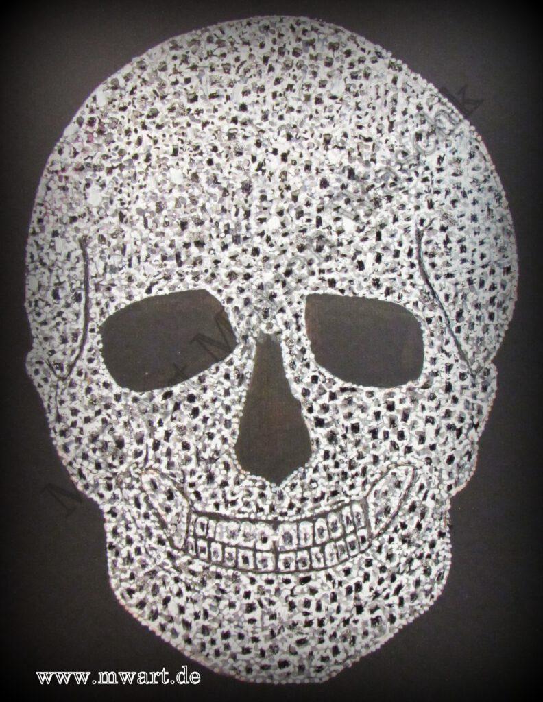 aufwendige handgemalte Zeichnung Diamond Skull von MW Art Marion Waschk