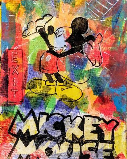 Mickey Mouse Malerei und spachteltechnik auf Papier von MW Art Marion Waschk