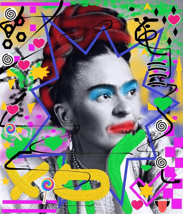 Digital Painting der bemerkenswerten Künstlerin Frida Kahlo von MW Art Marion Waschk