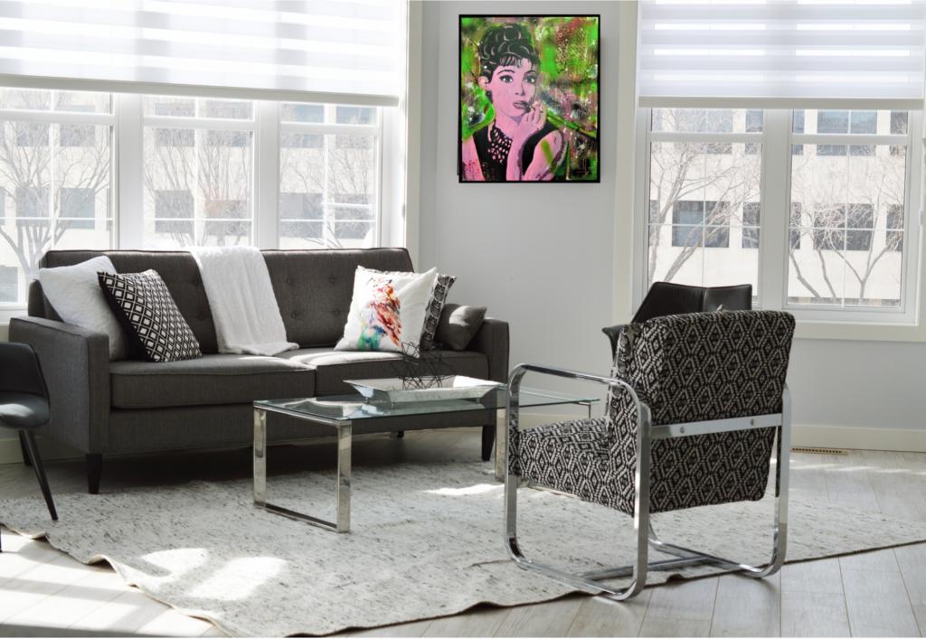Audrey Hepburn als Wonzimmerbild von MW Art Marion Waschk, Unikat, Gemälde auf Leinwand gerahmt