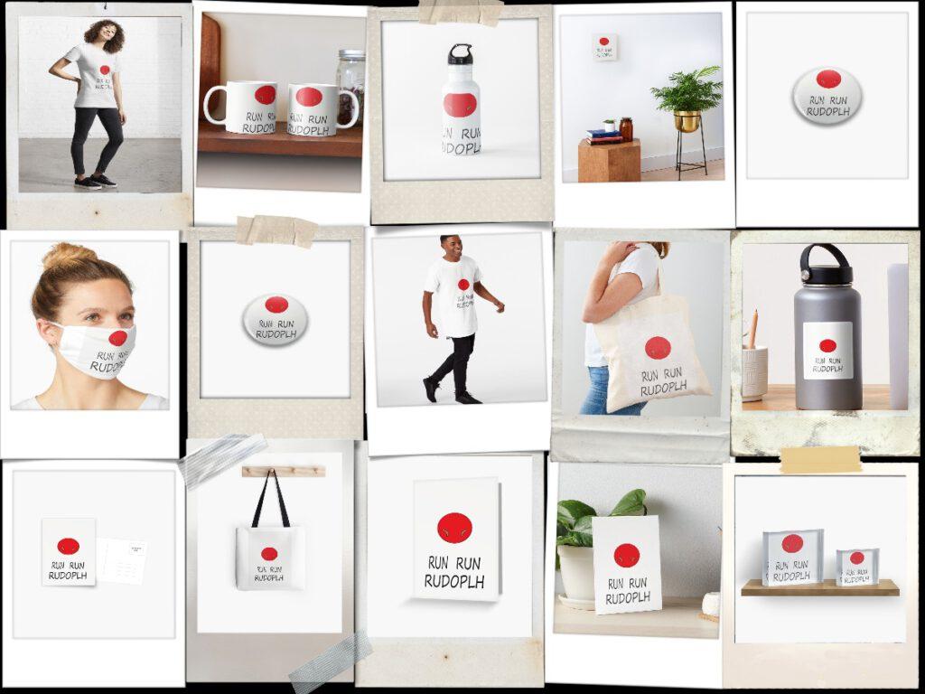 Produkt-Clollage Run, Run Rudolph. Ein minimalistisches design von MW art Marion Waschk. Zu sehen ist nur die rote Nase mit Typografie.